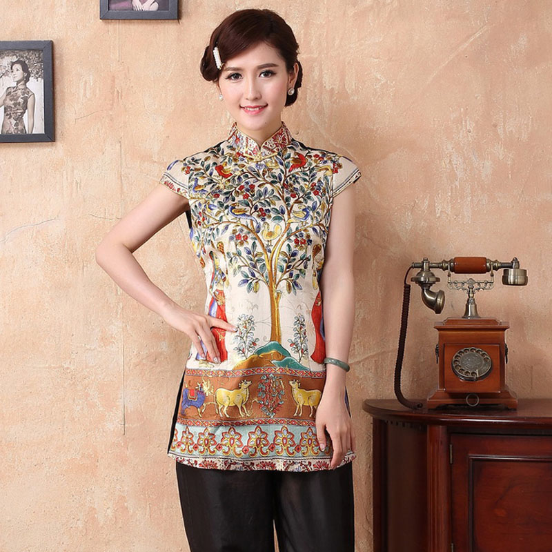 Blusa Cheong Tops Camisatyr051806 Shirts Female c Silk d 4xl New Women Mujer e b National Blouses Size Chinese sam Summer S A Traditional 04qgAAZ