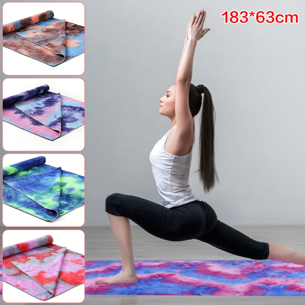 183x63cm Tie-dye Printed Non Slip Yoga Towel Soft Travel Camping Sport Fitness Exercise Yoga Pilates Mat Long Blanket spaghetti strap asymmetric tie dye plus size top