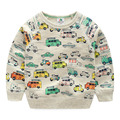 2016 Autumn Boys Children'S Clothing Baby Casual Long-Sleeve Top  Round Neck Carton Car Print Sweatshirt Free Shipping