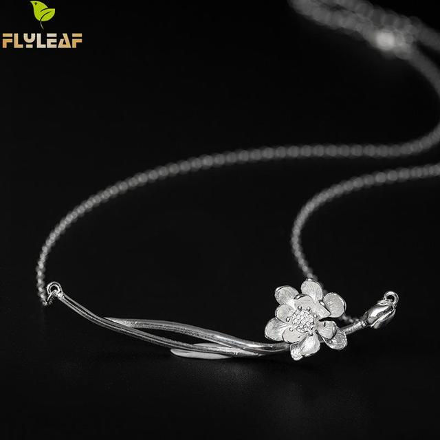 Flyleaf brand 100 925 sterling silver lotus flower necklaces flyleaf brand 100 925 sterling silver lotus flower necklaces pendants for women chinese style mightylinksfo