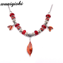 2019 Necklace Latest Gifts Simple Women New Pendant Fashion Silver Red Color Leaves Retro Ms. Gift Charm Hot Sale Beads