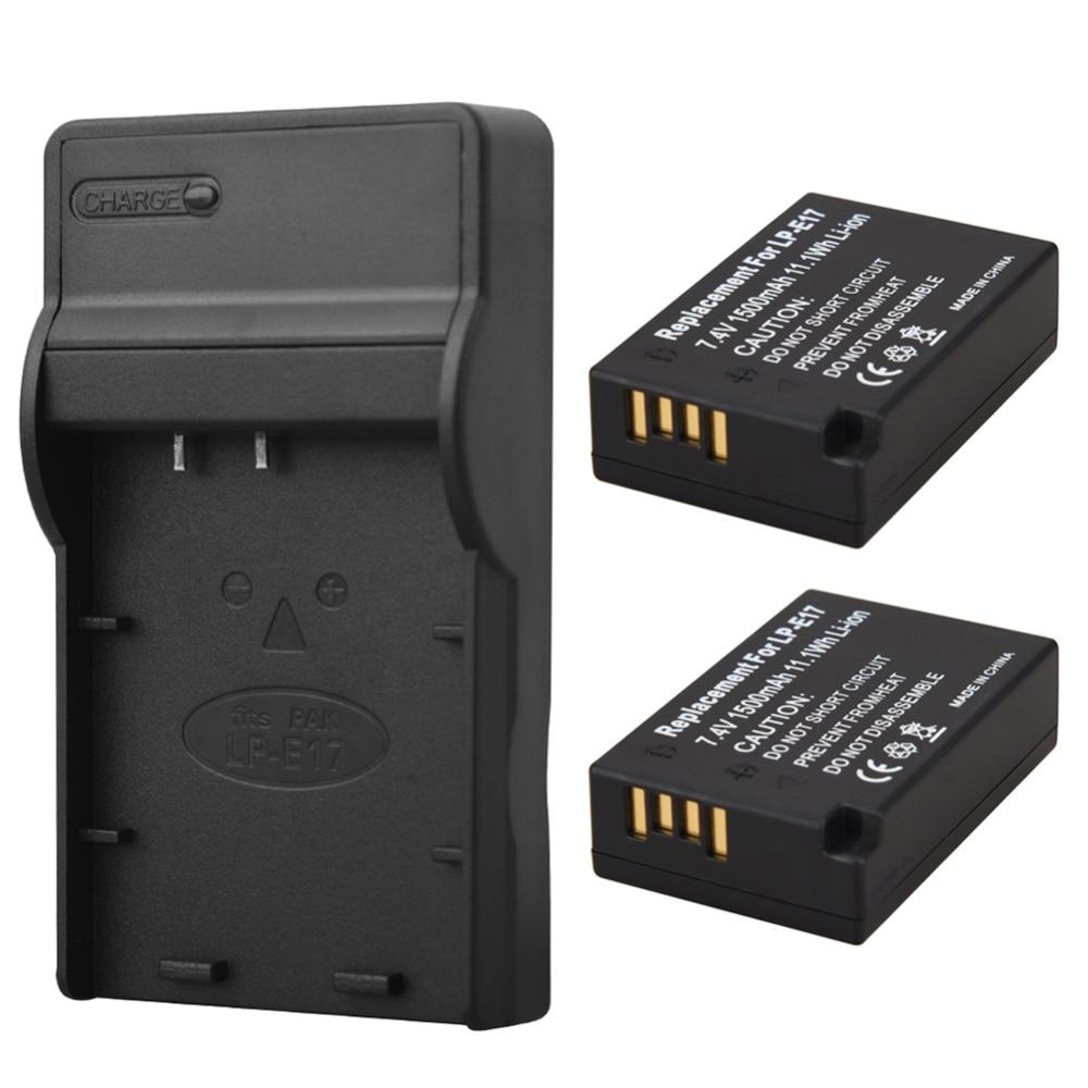 2 шт. 1500 мАч LP-E17 LPE17 Камера Батарея для Canon EOS M3 <font><b>M5</b></font> 750D 760D T6i T6s 8000D поцелуй X8i батареи + USB Зарядное устройство