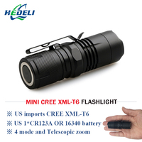Mini Cree Xm L T6 Torch Penlight Led Flashlight Rechargeable Cr123 Battery Lantern Waterproof Flash Light