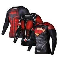 Caliente 3 Pack 2017 Superhero hombres manga larga Camiseta compresión Medias Tops fitness camiseta