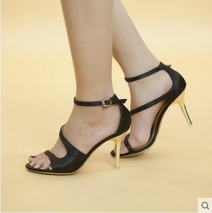 ФОТО New Women's shoes gentlewomen  satin cutout hanging buckle belt sandals woman's Strap shoes high heels Summer Sandals