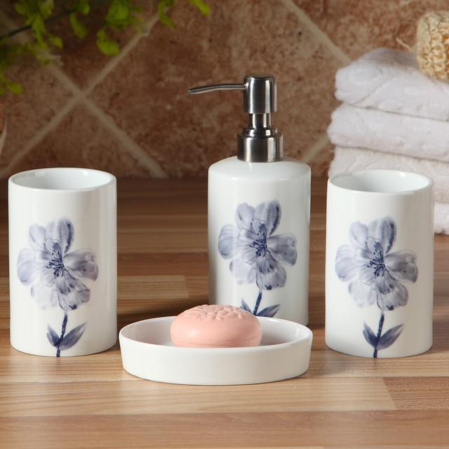 bad accessoires set porselein badkamer hoge kwaliteit keramische elegante tumbler zeepdispenser zeepbakje geschenkdoos mode rosa