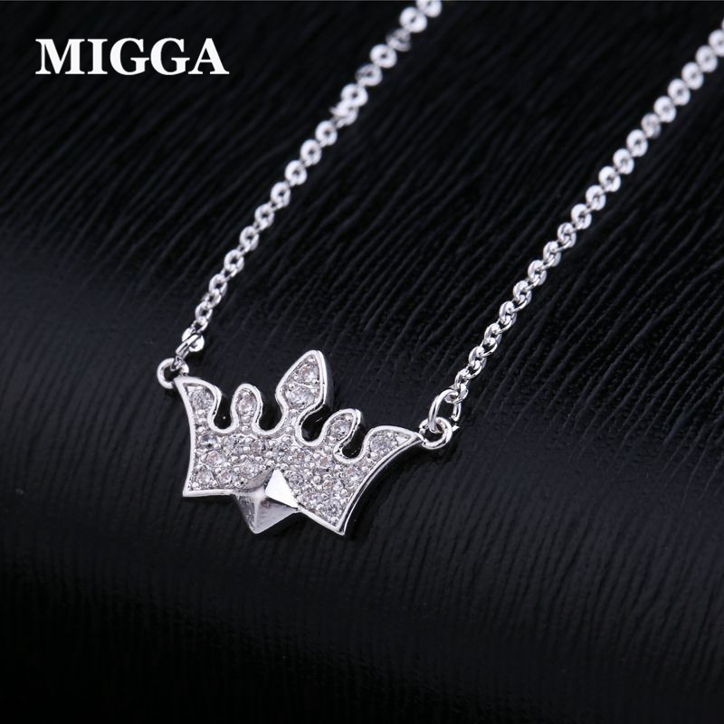 MIGGA White Gold Color Cubic Zirconia Crown Necklace High Quality CZ Crystal Choker Chain Women Jewelry