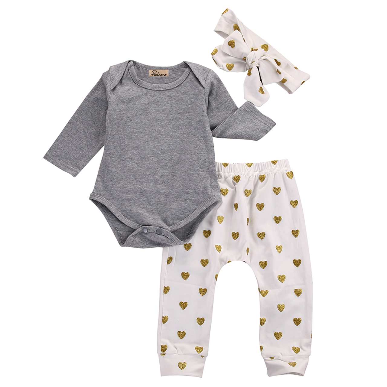 Pudcoco HOT Sale Baby Sequin Suit Girl Jumpsuit 3pcs Infand Baby Girls Solid Gray Rompers Heart Printed Pants Leggings Outfits