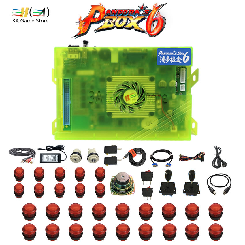 Pandora box 6 1300 in 1 Diy usb joystick arcade button switch arcade joystick buttons speaker kit for controle arcade machine safety and often converter 4 buttons to remote controle arcade transform screen to street fighter for tekken display