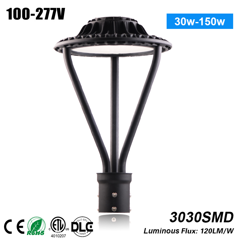 Free Shipping high quality outdoor led decorative post top area light 130lm/w 75w led garden light CE, ROHS,ETL,DLC