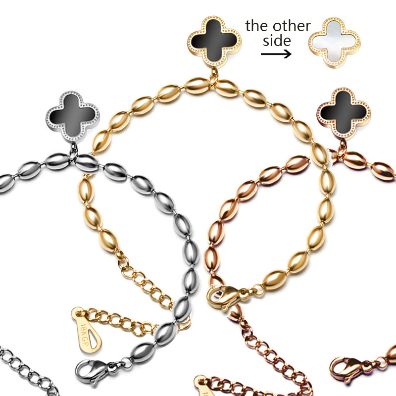 Clover Charms Beads Bracelet Vca Safety Chain Rose Gold Color Brand Design Bracelet Trefle for Women Weddings Jewelry Gifts