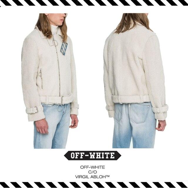 Best Version New Arrival 16 Fall Winter Off White SHEARLING COAT Outerwear  Lambs Wool Jacket Men Women Long Sleeve Cotton Coat 95b1596c0f
