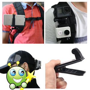 Image 5 - Quick Release Backpack Belt Hat Clip Mount Adapter for Sony AS50 AS300R AZ1 X3000R/Gopro 7 5 /SJcam/Xiaoyi 4k for iPhone huawei
