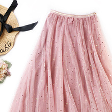 2019 Women High Waist Lace Pleated Skirts Spring Summer Female Chiffon Tulle Shiny Stars Sweet Pleated Long Skirt
