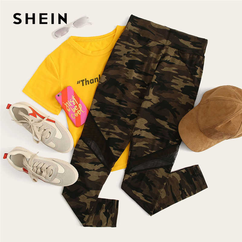 e74e2f65cd ... SHEIN Multicolor Mesh Insert Camo Print Leggings Sporting Patchwork  Sheer Crop Pants Women Autumn Athleisure Leggings