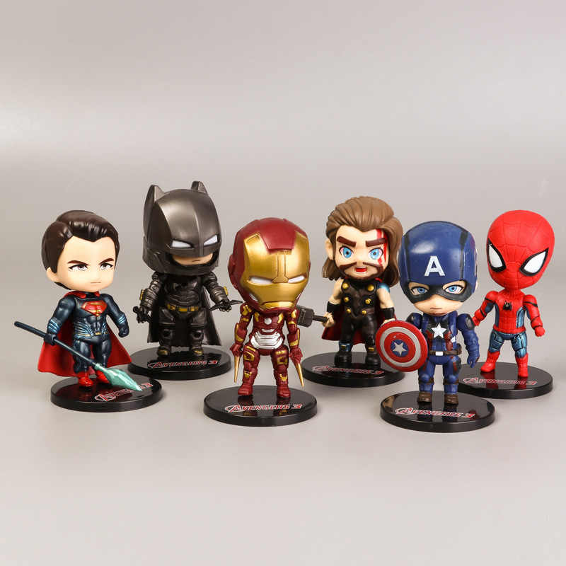 Superb 6Pcs Marvel Avengers Endgame Figures Spiderman Superman Ironman Funny Birthday Cards Online Alyptdamsfinfo