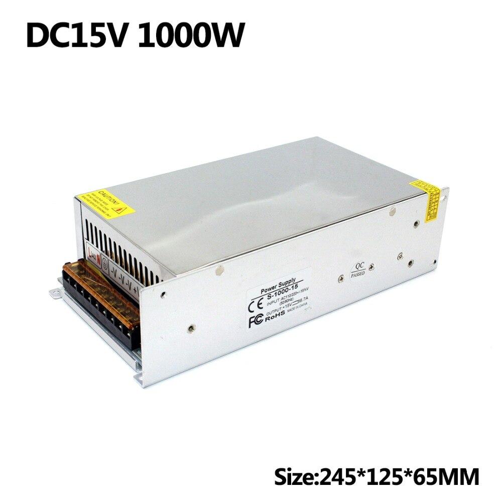 Power Supplies driver transformer 110v 220v AC to DC 15V 66 7A 1000W Single Output Switching