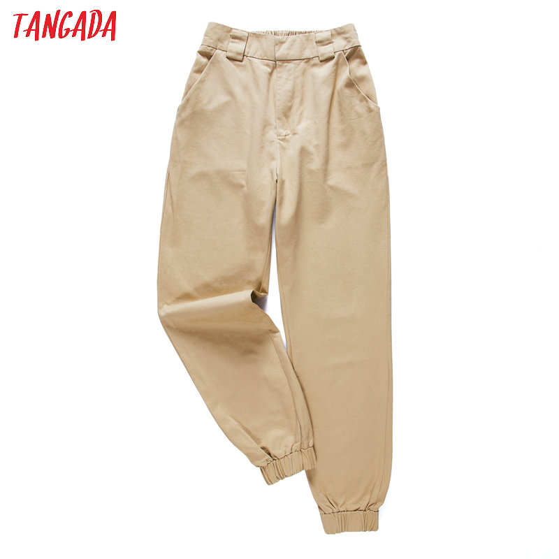 Tangada fashion woman pants women cargo high waist pants loose   trousers joggers female sweatpants streetwear 5A02(China)