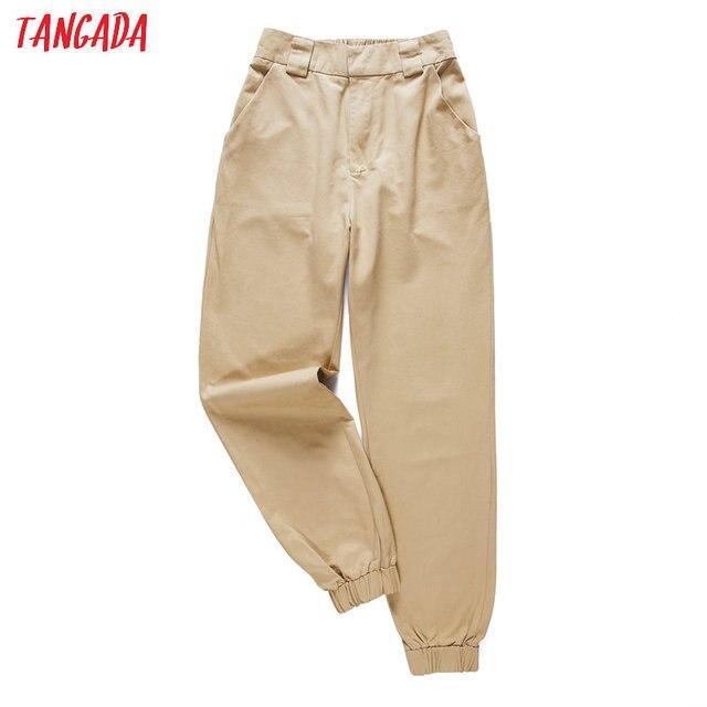 Tangada mode vrouw broek vrouwen cargo hoge taille broek losse broek joggers vrouwelijke trainingsbroek streetwear 5A02