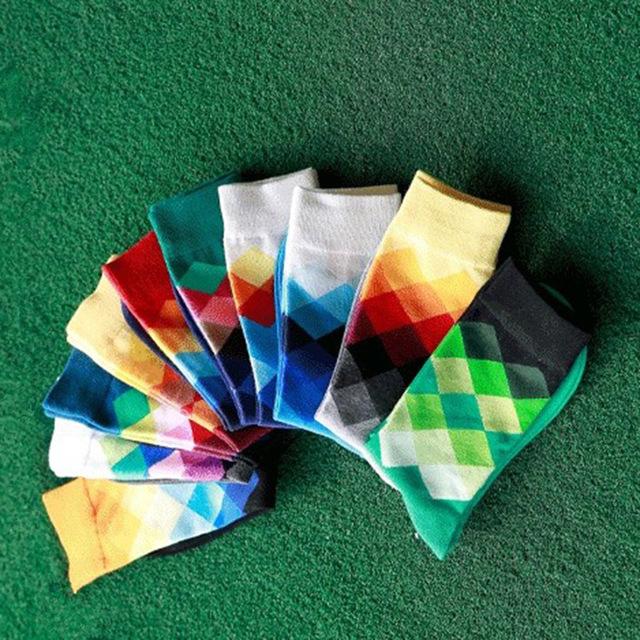 Sale 1 Pair One Size 10 Colors British style Fashion Hot Elegant Plaid Gradient Color Men Sock
