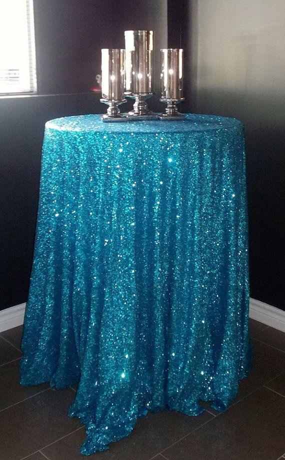 Amazing 90 Round Crystal Blue Sequin Tablecloth For