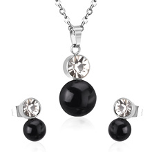 CZ Stainless Steel Jewelry Set With Freshwater Pearl