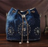 Women denim bag with rhinestones handbag with chain handle summer beach small shoulder bag ladies clutches handwoven bucket bag