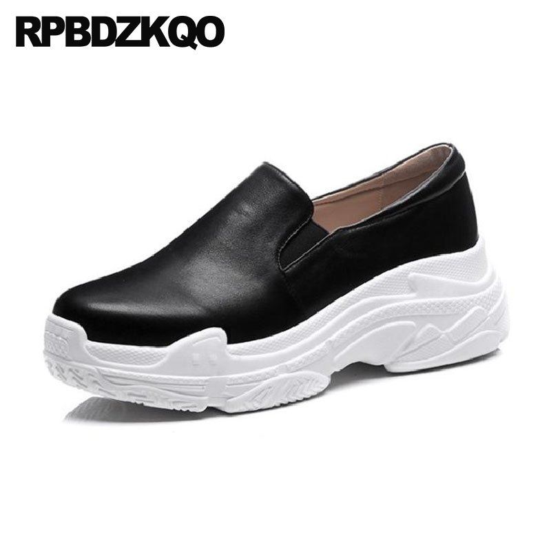Wide Fit Shoes Ladies Thick Sole Elevator Muffin Genuine Leather Black Slip On Creepers Platform Wedge Women White High Quality