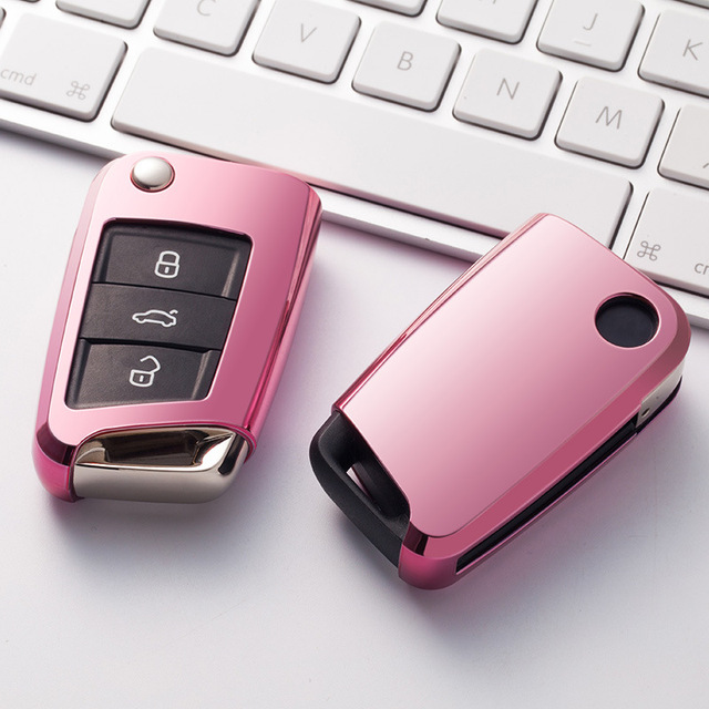 Soft TPU Car Key Remote Case Cover Holder Case For Volkswagen VW Golf 7 mk7 Seat Ibiza Leon FR 2 Altea Aztec For Skoda Octavia