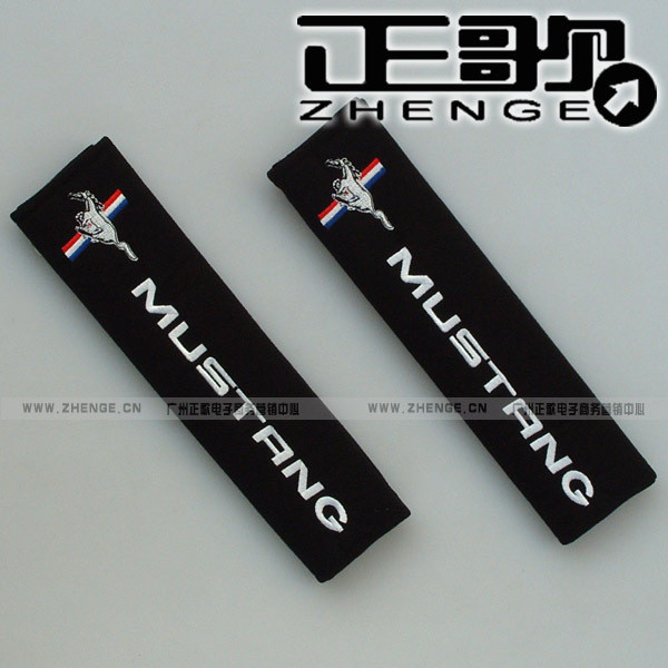 free shipping 1pair Seat belt shoulder Mustang car logo safety belt cover 1pair=2pcs shoulder