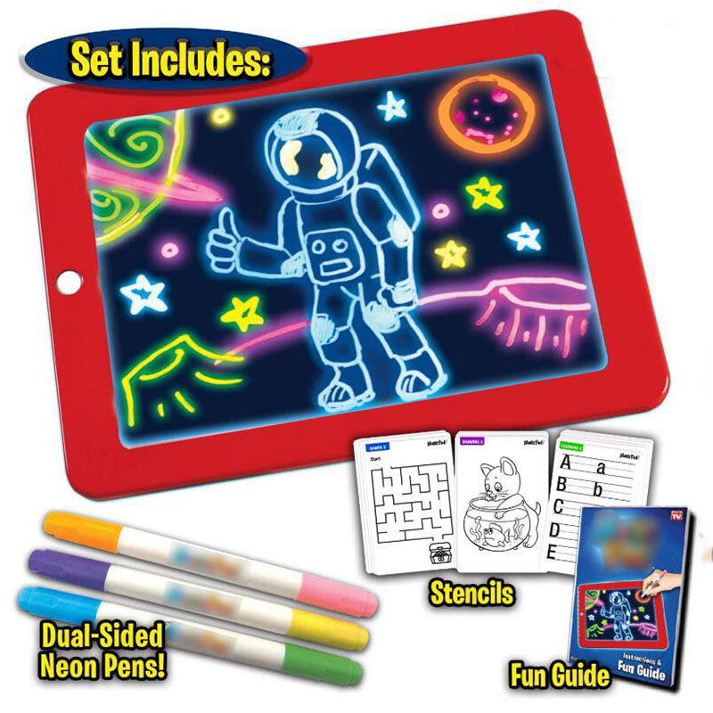 3D Magic Drawing Pad LED Writing Board For Plastic Creative Art Magic Board With Pen Brush Children Clipboard Gift