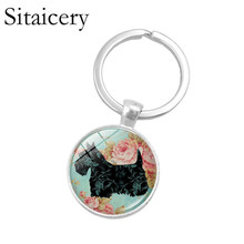 Saitaisery Lovely Dog Keychain Cute Glass Dome Pendant Silver Metal Keyring Lovers Gifts Men Women Fashionable Jewelry