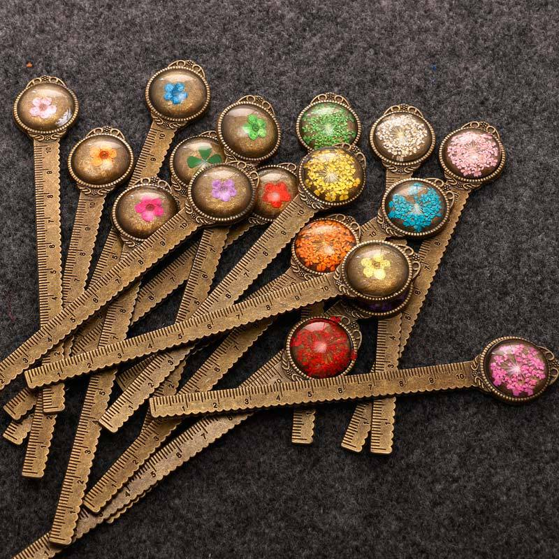12 Style Vintage Dried Flower Metal Bookmark, Retro Multifunction Copper Metal Ruler Bookmark, Elegant Stationery Supplies