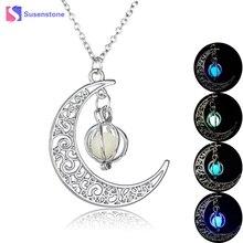 susenstone 2017 Glow In The Dark Jewelry Moon Shaped Pendant Luminous Stone Long Beads Halloween Chain Necklace Women Gifts