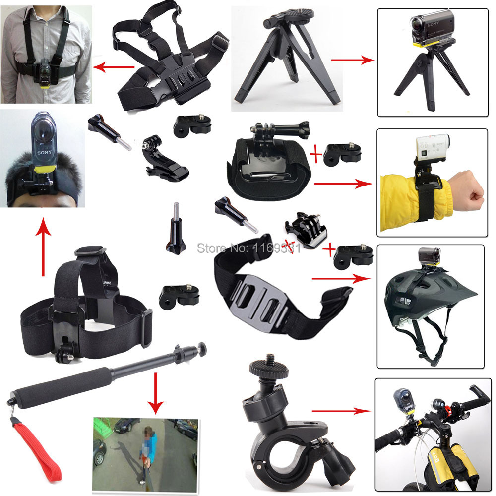 Handlebar Helmet Sports Head Chest Mount Selfie Monopod Handheld Accessories For Sony Action Cam HDR