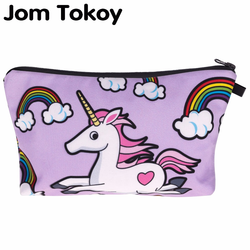 3D Printing unicorn Makeup Bags Multicolor Pattern Cute Cosmetics Pouchs For Travel Ladies Pouch Women Cosmetic Bag jom tokoy 3d printing unicorn makeup bags multicolor pattern cute women cosmetic bag