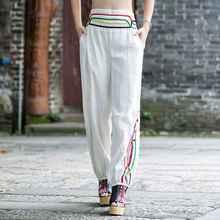 #2010 señoras delgadas pantalones casuales pantalones anchos de la pierna de las mujeres del estilo chino pantalones flare pantalones mujer rojo/blanco pantalones mujeres