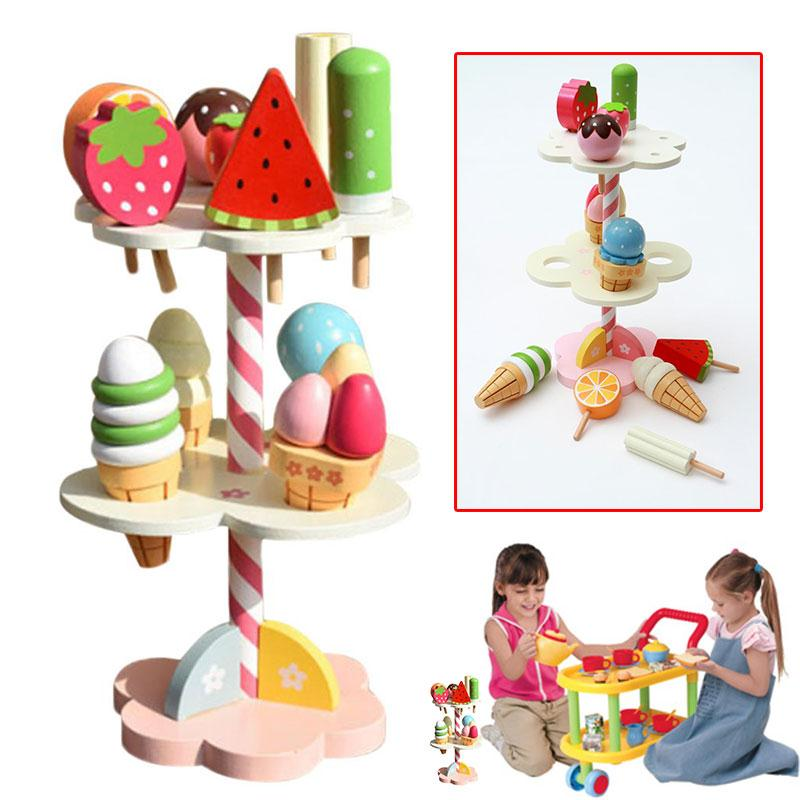 Kids Kitchen Toy Play House Toy Wooden Simulation Ice Cream Three Layers Cake Toy Infant Toys Food Kids Christmas Gift kitchen simulation toys for children cake decorating wooden toys afternoon tea set birthday cake baby toysgift