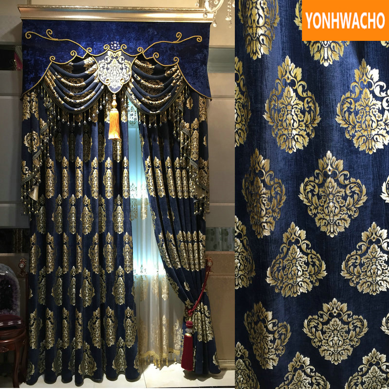 Custom Curtains Luxury Upscale European Thicken Chenille Jacquard Bedroom Blue Cloth Blackout Curtain Tulle Valance Drape B096
