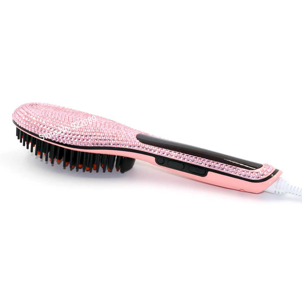 Fers de peigne de redresseur de cheveux de brosse en cristal rose avec l'affichage d'affichage à cristaux liquides