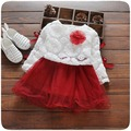 2016 Fashion Spring Autumn Long Sleeve baby Party Birthday girls kids Children Flower Lace Tops+princess infants Dress Set S2203