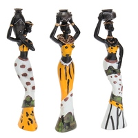 Newest 3PCS African Lady With Vase Ornament Ethnic Statue Sculptures National Culture Table Adornments Figurine Home