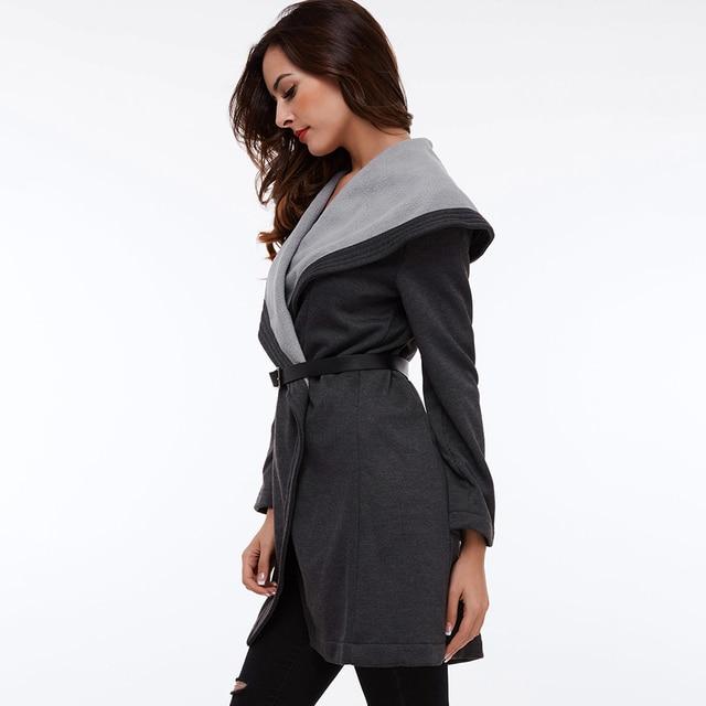 Clocolor Casual Long Coat Fashion Turn Down Collar Asymmetrical Office Ladies Elegant Winter Clothing Outwear Women Overcoat 3