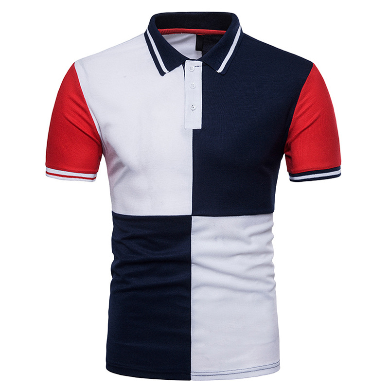 Mens Striped   Polo   Shirt 2018 Summer Brand New Short Sleeve   Polo   Homme Casual Slim Fit Patchwork Geometric   Polo   Camisa S-XXL