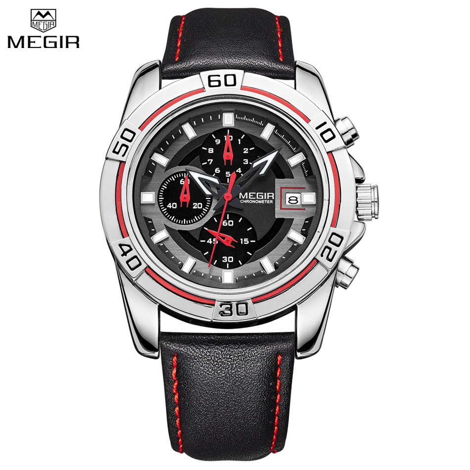 MEGIR Men Chronograph Waterproof Multifunction Sport Analog Digital Quart Watch Genuine Strap Fashion Watches Relogio Masculino
