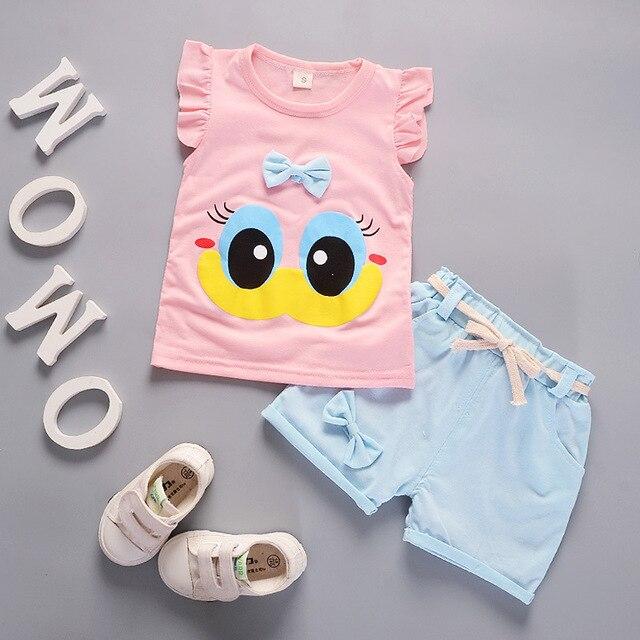 קיץ חמוד Cartoon 2 PCS ילדים בייבי בנות פרחוני חולצה למעלה מכנסיים קצרים מכנסיים סט בגדי בנות בגדי סטים