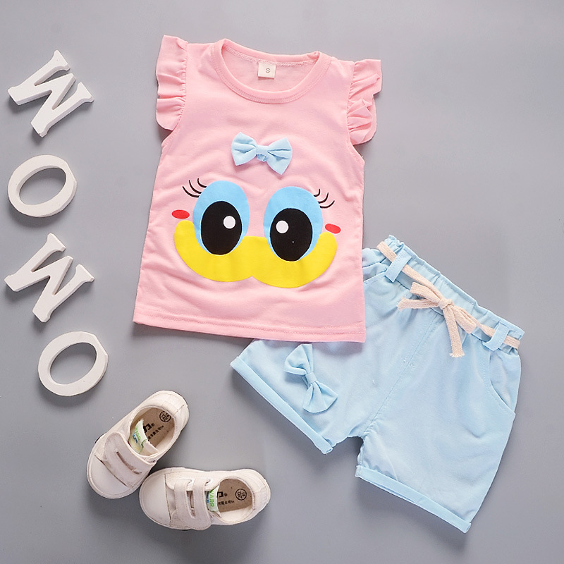 Summer Cute Cartoon 2PCS Kids Baby Girls Floral T-shirt Top Shorts Pants Set Clothes Girls Clothing Sets