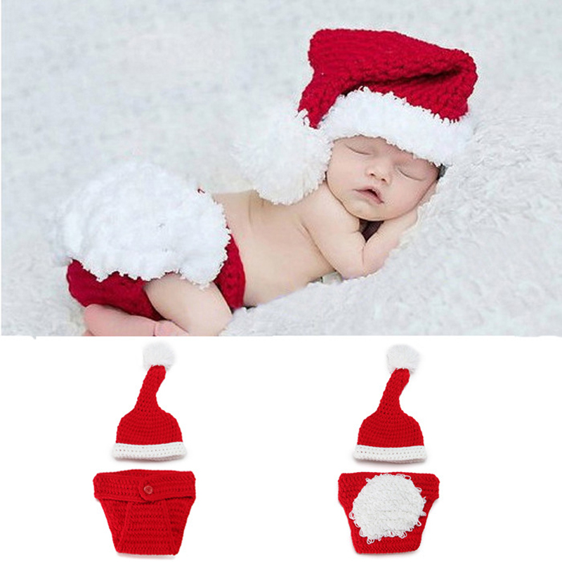 Cute Baby Boys Girls Knit Hat Christmas Santa Outfits Crochet Costume Photo Prop infant clothes set clothes suit W15 newborn baby photography props infant knit crochet costume peacock photo prop costume headband hat clothes set baby shower gift page 2