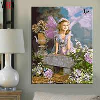 Фея Бабочка Ангел живопись по номерам Современный домашний декор бескаркасная Картина на холсте мален нач захлен искусство девушка плакат ...
