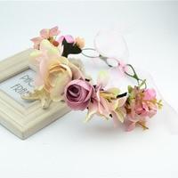 Head Wreath Women Girls Wedding Flower Crown Hair Accessories Head Band Children Headwear Headdress Vintage Bridal Headpiece